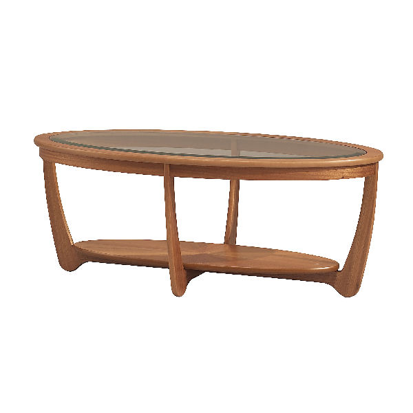 Ercol Oval Coffee Table: Nathan Glass Top Oval Coffee Table