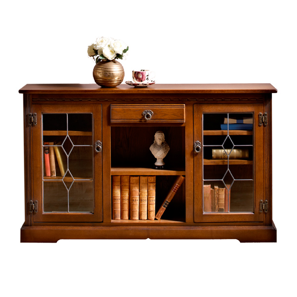 Low Bookcases With Doors: Old Charm Low Bookcase With Glass Doors